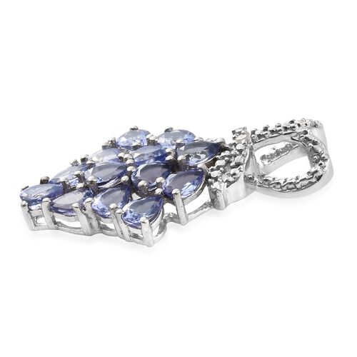Tanzanite (Pear), Diamond Pendant in Platinum Overlay Sterling Silver 2.010 Ct.
