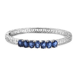 Ceylon Color Quartz (Ovl) Filigree Bangle (Size 7.5) in Ion Plated Stainless Steel 9.500 Ct