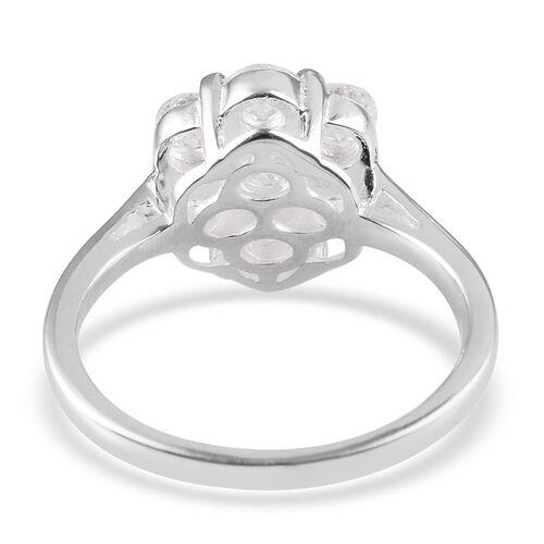 J Francis - Rhodium Overlay Sterling Silver Pressure Set Ring Made with SWAROVSKI ZIRCONIA