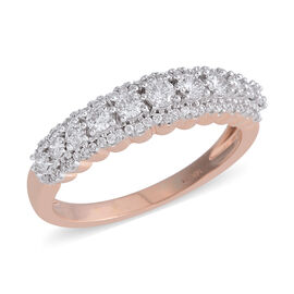 0.65 Ct Diamond Half Eternity Band Ring in 14K Rose Gold 3.35 Grams I1-I2 GH