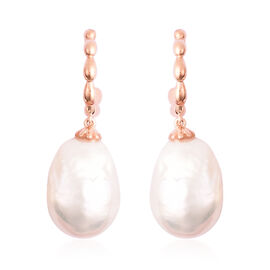 LucyQ - Freshwater White Baroque Pearl Earrings (with Push Back) in Rose Gold Overlay Sterling Silve
