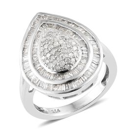 Diamond (Bgt) Ring (Size P) in Platinum Overlay Sterling Silver 1.000  Ct, Number of Diamonds 174.
