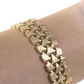 Limited Edition- Hatton Garden Close 9K Yellow Gold Three Row Crochet Style Matt-Finish Bracelet (Size 7.5) with Fancy Tube Clasp, Gold wt 14.10 Gms