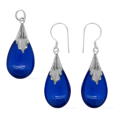 Royal Bali Collection Simulated Blue Sapphire (Pear) Pendant and Hook Earrings in Sterling Silver