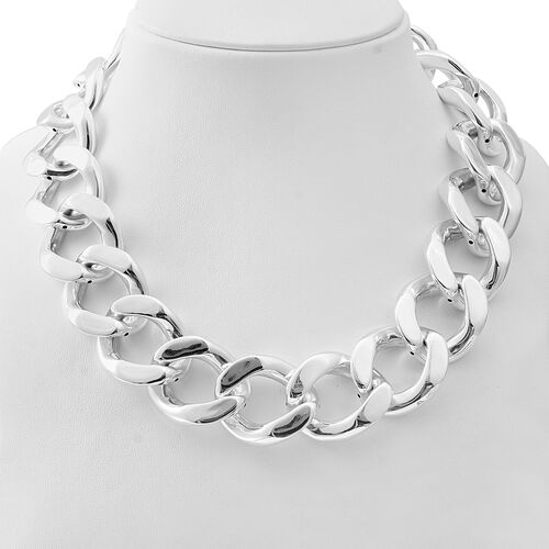 One Time Deal- Rhodium Overlay Sterling Silver Curb Link Necklace (Size 20), Silver wt 131.00 Gms.