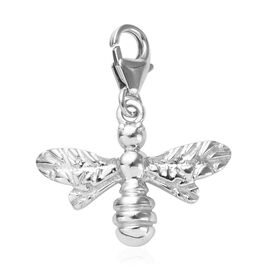Honey Bee 3D Charm in Platinum Overlay Sterling Silver