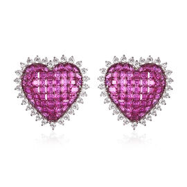 Lustro Stella Simulated Ruby and Simulated Diamond Heart Stud Earrings (with Push Back) in Rhodium O