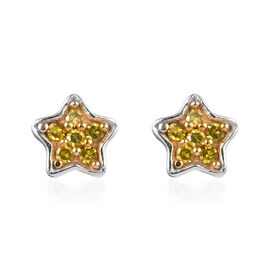 Yellow Diamond (Rnd) Star Stud Earrings (with Push Back) in Platinum Overlay Sterling Silver 0.15 Ct