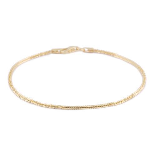 Italian Made - Gold Overlay Sterling Silver Alternate Margarita Bracelet (Size 7.5)