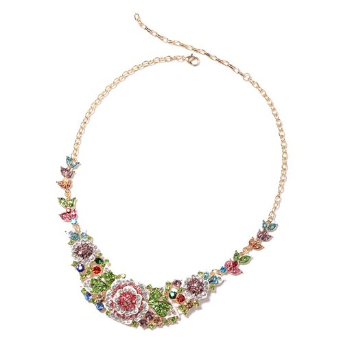 2 Piece Set - Multi Colour Austrian Crystal Necklace (Size 25 with Extension) and Earrings (with Push Back)