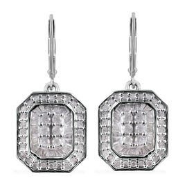 Diamond (Rnd and Bgt) Lever Back Earrings in Platinum Overlay Sterling Silver 1.00 Ct.