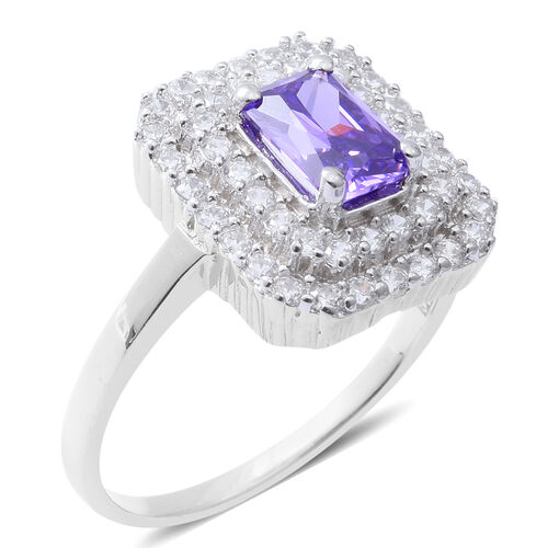 ELANZA Simulated Amethyst (Oct), Simulated Diamond Ring in Rhodium Overlay Sterling Silver