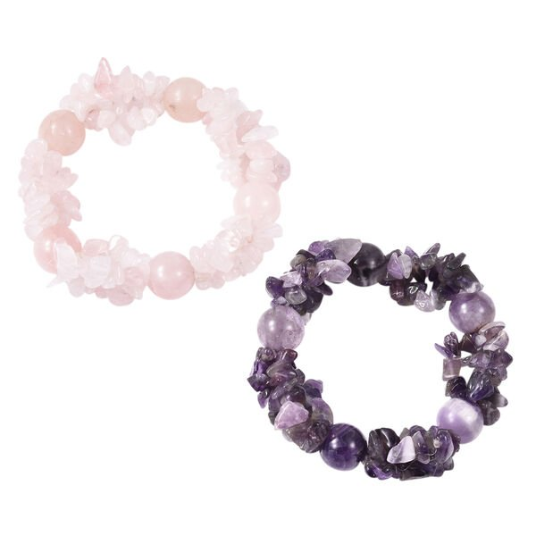 Set of 2 504 Carat Amethyst and Rose Quartz Stretchable Bracelet 7 Inch