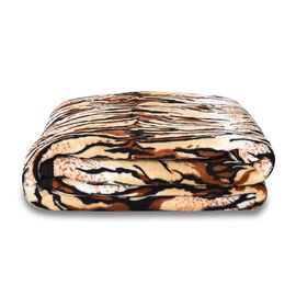 Super Soft Microfibre Plush Blanket Tiger Print (Size 150x200 Cm) - Beige, Brown and Black