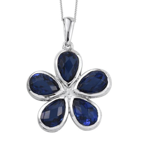 Checkerboard Cut Ceylon Colour Quartz (Pear) Floral Pendant With Chain in Platinum Overlay Sterling Silver 8.500 Ct.