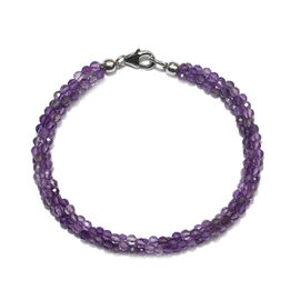 Amethyst (Rnd) Twisted Beaded Bracelet (Size 7.5) with Lobster Lock in Rhodium Overlay Sterling Silv