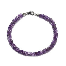 32 Carat Amethyst Twisted Beaded Bracelet with Lobster Lock in Rhodium Plated Silver 7.5 Inch