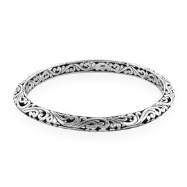 Royal Bali Collection Sterling Silver Filigree Bangle (Size 8.5), Silver wt 29.11 Gms.