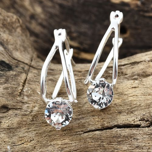 J Francis Crystal from Swarovski - White Colour Crystal (Rnd 6mm) Hoop Earrings (with Clasp) in Sterling Silver, Silver wt 3.16 Gms.
