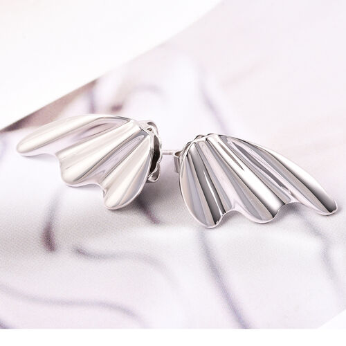 LucyQ Stud Earrings in Rhodium Plated Sterling Silver