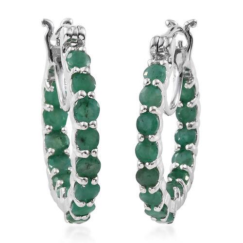 3 Carat Zambian Emerald Inside Out Hoop Earrings in Platinum Plated Sterling Silver 5.64 Grams