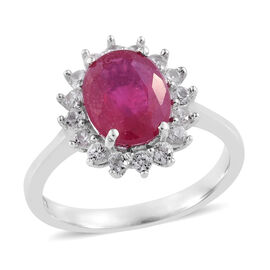 African Ruby (Ovl), Natural Cambodian Zircon Ring in Platinum Overlay Sterling Silver 3.000 Ct.