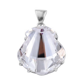 J Francis Made with Swarovski Crystal Seashell Pendant in Platinum Plated Sterling Silver 6.34 Grams