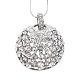 White Austrian Crystal Circle Pendant with Chain in Silver Tone 29 with 2.5 inch Extender