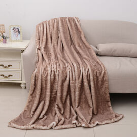 Super Soft Printed Faux Fur with Faux Mink Blanket (Size 200x150 Cm) - Colour Brown