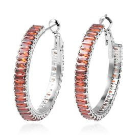 Simulated Red Garnet Hoop Earrings with Clasp in Silver Plated