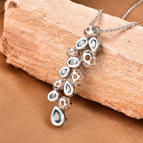 RACHEL GALLEY Misto Collection - Ratnakiri Blue Zircon Pendant with Chain (Size 20) in Rhodium Overlay Sterling Silver