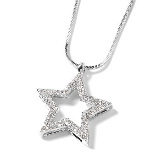 White Austrian Crystal (Rnd) Star Necklace (Size 20) in Silver Plated