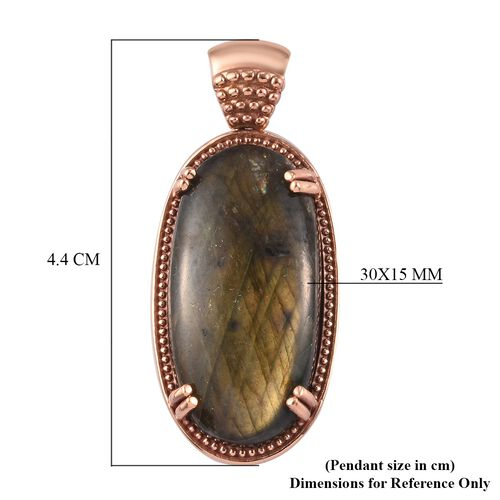 Labradorite Solitaire Pendant in Natural Bronze 15.00 Ct.