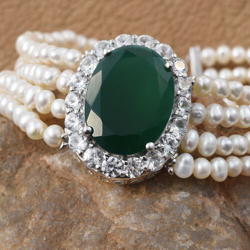 Designer Inspired - Verde Onyx (Ovl 20x15mm, 11.750Ct.), Fresh Water Pearl and Natural Cambodian Zircon Bracelet (Size 7.5) in Platinum Overlay Sterling Silver (Silver wt 9.77 Gms.)