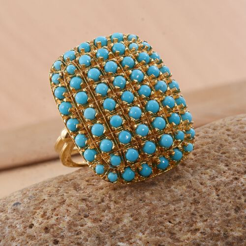 Arizona Sleeping Beauty Turquoise (Rnd) Ring in 14K Gold Overlay Sterling Silver. No of Stones 61 pcs. Silver wt 8.74 Gms.