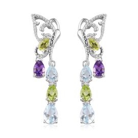 GP Peridot, Skyblue Topaz, Blue Sapphire and Amethyst Dangle Earrings (with Push Back) in Platinum O