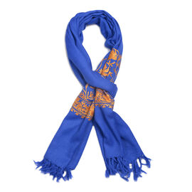 100% Merino Wool Embroidery Blue Colour Scarf (Size 200x70 Cm)
