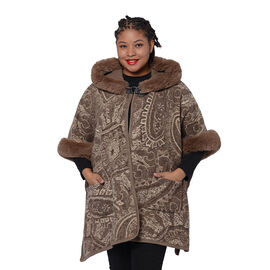 Cashew Flower Pattern Long Cape with Faux Fur Hood and Sleeves  (One Size) - Light Brown and Off Whi