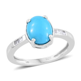 AA Arizona Sleeping Beauty Turquoise (Ovl 9x7 mm), Diamond Ring in Platinum Overlay Sterling Silver