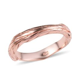 Rose Gold Overlay Sterling Silver Branch Design Ring, Silver wt 3.00 Gms