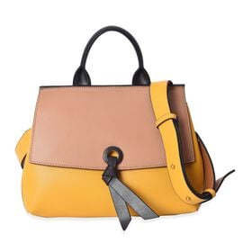 100% Genuine Leather Beige and Yellow Colour Bag (Size 26x12.5x22.5 Cm) with Detachable Shoulder Str
