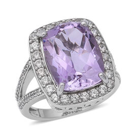 Rose De France Amethyst (Cush 16x12 mm), Natural Cambodian White Zircon Ring in Rhodium Overlay Ster