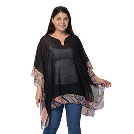 Designer Inspired-Black Colour Kimono with Chevron Pattern Border (Size 78.7x86.3 Cm)
