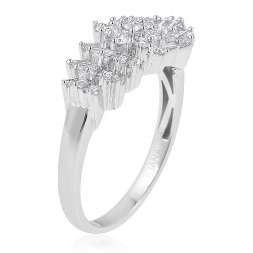 ILIANA 18K White Gold IGI Certified Diamond (Rnd) (SI/G-H) Ballerina Ring 1.000 Ct.
