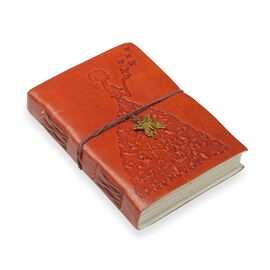 Embossed Leather Notebook with Butterfly Charm (Size 17.78x12.7 Cm) - Brown