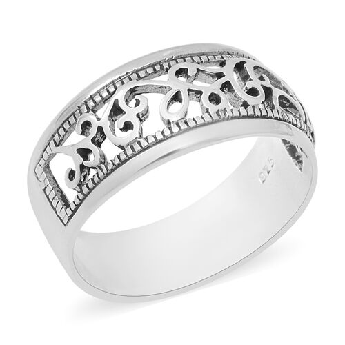 Floral Band Ring in Sterling Silver