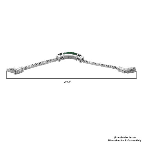 Royal Bali Collection - Green Jade Dragon Carved Bracelet (Size 7.5) in Sterling Silver 27.08 Ct, Silver wt. 46.00 Gms