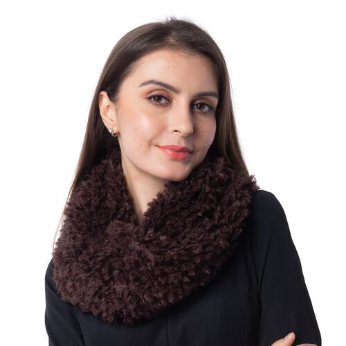 Soft and Fluffy Faux Fur Infinity Scarf - (Size:20x40cm) - Brown