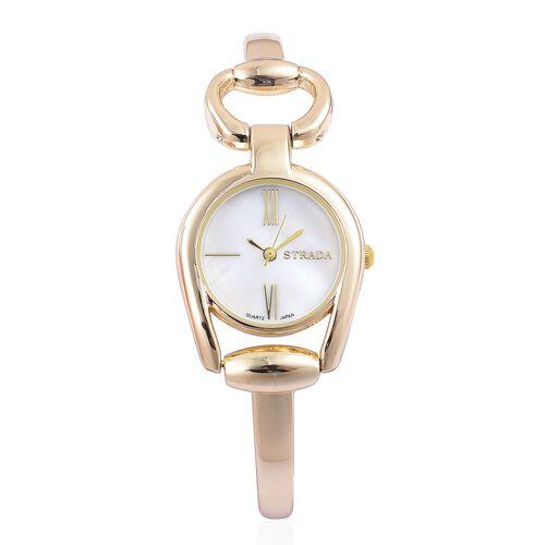Designer Inspired - STRADA Japanese Movement Snaffle Gold Tone Watch