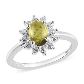 1.25 Carat Vesuvianite and Natural Cambodian Zircon Halo Ring in Sterling Silver